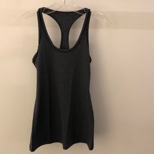 Lululemon charcoal gray tank with ruffles, sz 6